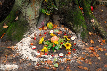 Pagan Altar And Spiral Works Outside Next To A Tree.