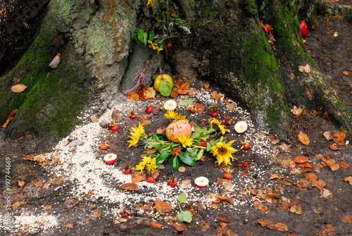 Foto  Pagan altar and spiral works outside next to a tree.