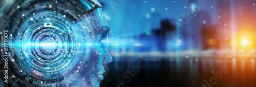 Obraz Cyborg head using artificial intelligence to create digital interface 3D rendering - fototapety do salonu