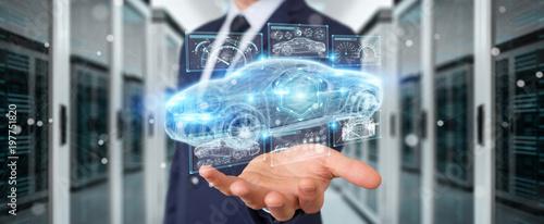 Foto  Businessman using modern smart car interface 3D rendering