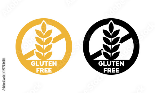 Gluten free label vector icons set. No wheat symbols templates design for gluten free food package or dietetic product nutrition sign