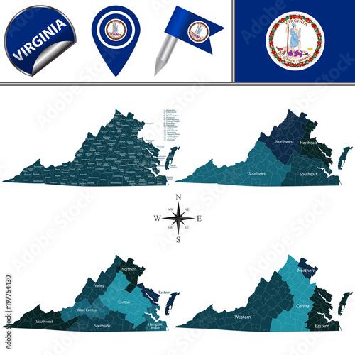 Obraz na plátne Map of Virginia with Regions