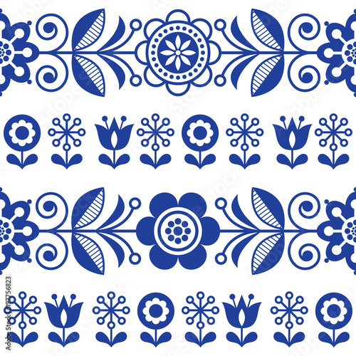Folk Art Seamless Vector Pattern With Flowers Navy Blue Floral