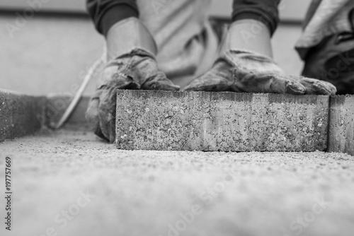 Fotografie, Obraz Manuel worker laying outdoor paving slabs
