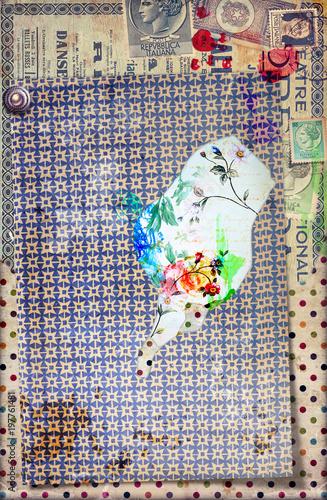 Papiers peints Imagination Sfondo con graffiti,simboli,disegni ritagli,patchwork e collage