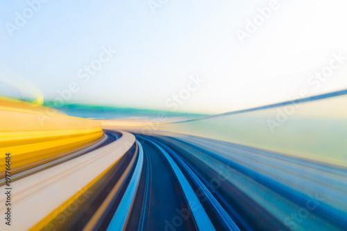 Fototapeta Speed motion in urban highway road tunnel