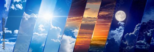 Obraz na plátně  Weather forecast wide banner, day and night