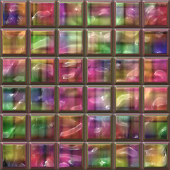 Fototapeta Illustration of colorful ceramic tile patterns background.