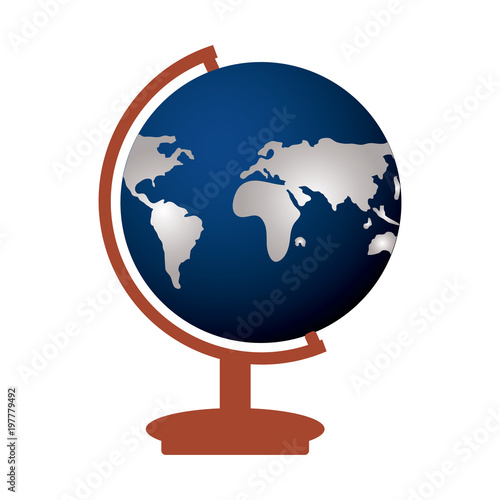 Fotografia  earth planet geography tool icon over white background, colorful design