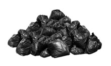 Black Garbage Bags Many Mountain Stack Hill, Lots Pile Of Garbage Dump Black Bags Isolated On White Background