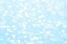 Blur Heart Blue Background Beautiful Romantic, Glitter Bokeh Lights Heart Soft Pastel Shade, Heart Background Colorful Blue For Happy Valentine Love Card