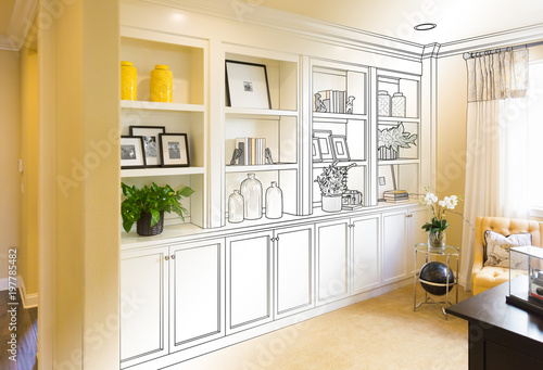 Custom Built In Shelves And Cabinets Design Drawing Gradating To Finished Photo