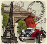 Fototapeta Fototapety Paryż - Paris vintage poster.