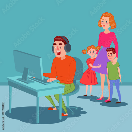 Father Playing on Video Games Poster
