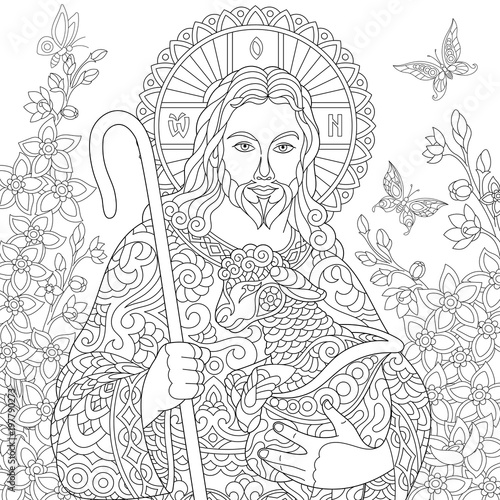 Jesus Christ With A Lamb Portrait Of Christian Biblical Character Floral Background Easter