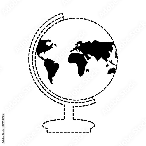 Fotografia  earth planet geography tool icon over white background, vector illustration