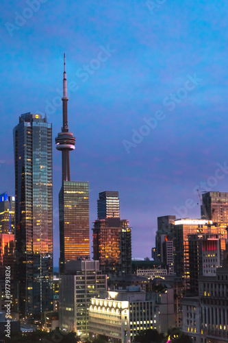 Toronto skyline at sunset in Ontario, Canada