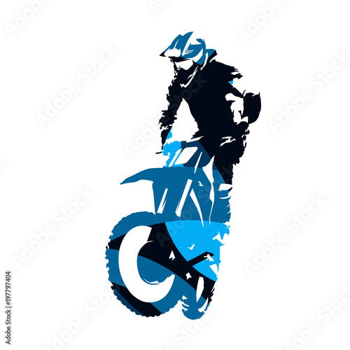 Fototapeta Motocross racing, abstract blue vector silhouette