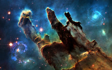 Deep Space. Pillars Of Creation And Galaxies. Image In 5K Resolution For Desktop Wallpaper. Elements Of The Image Are Furnished By NASA