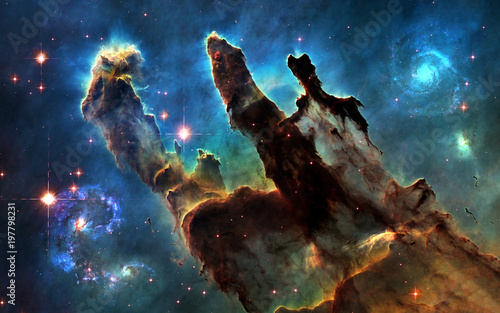 Deep Space Pillars Of Creation And Galaxies Image In 5k
