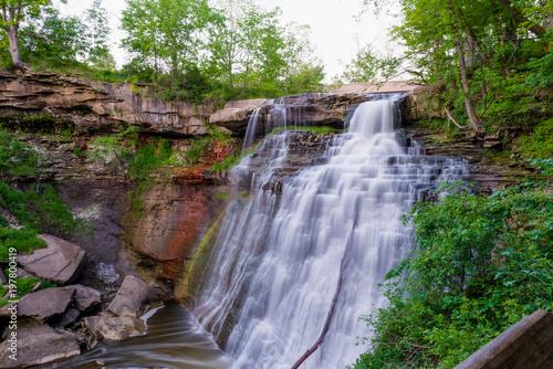 Deurstickers Dam Waterfall at dusk in Ohio