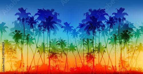 Stoffe zum Nähen Regenbogen Farben Palmen Silhouetten Vektor Vintage nahtlose Hintergrund