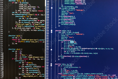 JavaScript code in text editor  Programming code abstract