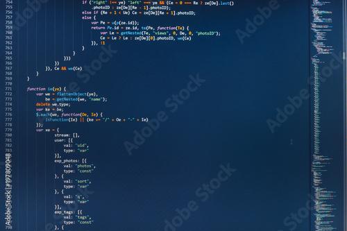 Photo IT coding on monitor screen