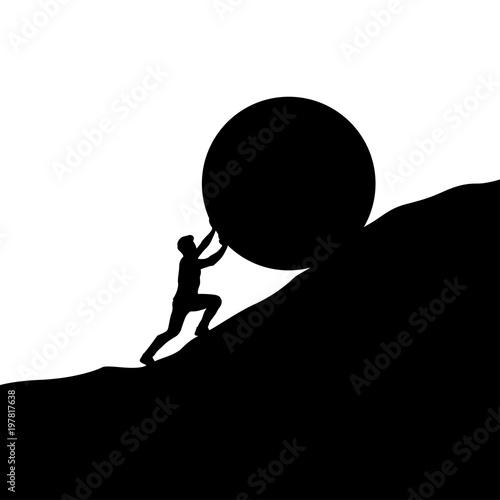 Obraz na plátně silhouette man pushing up hill