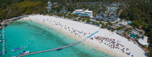 Photo aerial view of white seabeach of racha island phuket southern of thailand