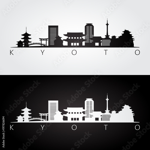 Kyoto skyline and landmarks silhouette, black and white design, vector illustration.