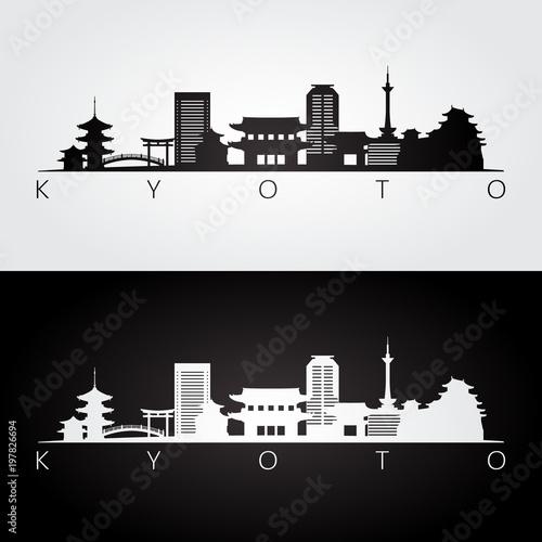 Kyoto skyline and landmarks silhouette, black and white design, vector illustration.