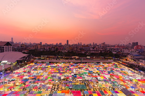 Night multiple colour aerial view with after sunset tone cityscape background Canvas Print