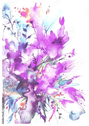 Akwarela bukiet kwiaty, Piękny abstrakcjonistyczny pluśnięcie farba, mody ilustracja. Kwiaty orchidei, maku, chaber, mieczyk, piwonia, róża, pole lub ogród kwiaty. Na białym tle.
