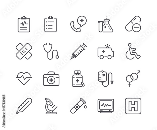 Fotografie, Obraz  Minimal Set of Medical and Health Line Icons. Editable Stroke.