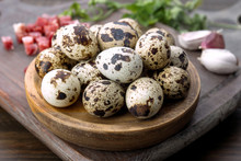 Raw Quail Eggs On Wood With Other Cooking Ingredients