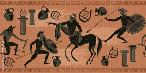 Ancient Greece Scene Seamless Pattern Black Figure Pottery Ancient