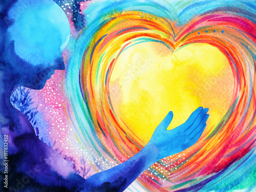 Fototapeta human and love spirit powerful energy connect to the universe power abstract art