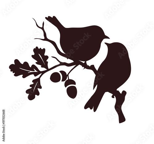 Pare ptaków siedzących na gałązce dębu. Sylwetka wektor ozdobny.