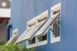 Leinwanddruck Bild - white aluminium frame windows background,  white awning window