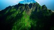4K Aerial View of Volcanic Mountain Island Cinematic 3D Animation