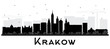 Krakow Poland City Skyline Silhouette with Black Buildings Isolated on White.