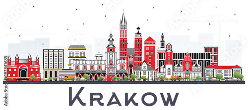 Fototapeta Krakow Poland City Skyline with Color Buildings Isolated on White. obraz