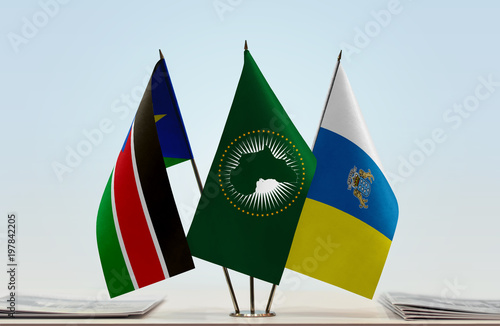 Foto op Canvas Canarische Eilanden Flags of South Sudan African Union and Canary Islands