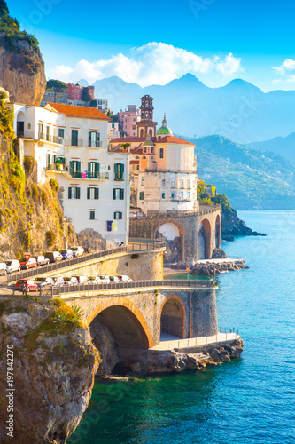 Poster Cote Morning view of Amalfi cityscape on coast line of mediterranean sea, Italy