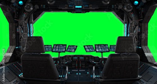 Spaceship grunge interior window isolated Fotobehang