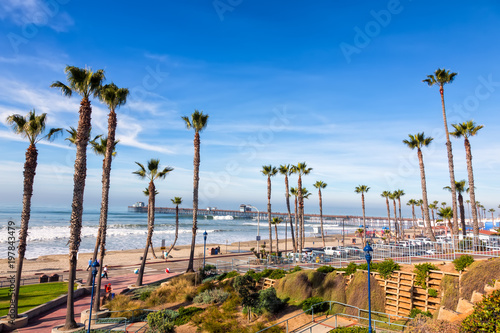 California Oceanside pier over the ocean with palm trees and beach, travel desti Wallpaper Mural