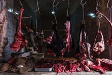 Poor Conditions At Local Butcher Food Market In Africa