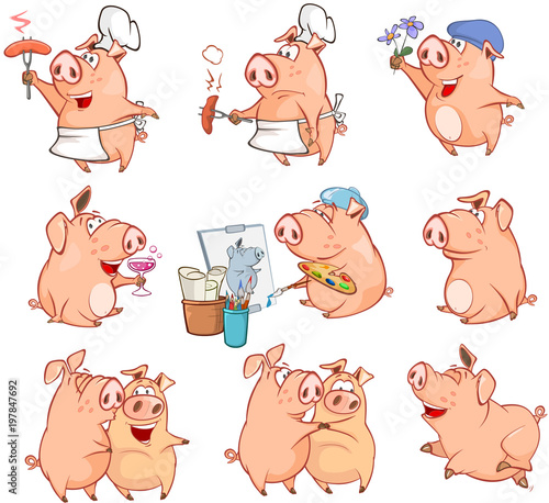Deurstickers Babykamer Set of Cartoon Illustration. Cute Pigs in Different Poses for you Design. Cartoon Character