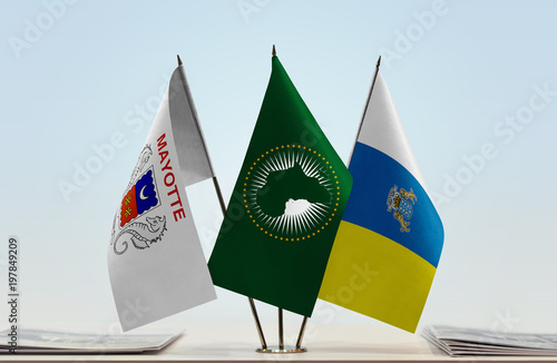 Foto op Canvas Canarische Eilanden Flags of Mayotte African Union and Canary Islands